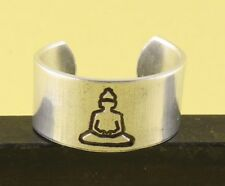 Yoga Be Here Now Ring - Hand Stamped Buddha Adjustable Aluminum Ring Handstamped