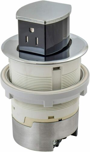 Hubbell RCT200CH 15A 125V Tamper Resistant Chrome Pop-Up Countertop Receptacle