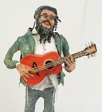 "Klezmer Figurine Hasidic Music Guitar player Handmade Judaica in Israel 20"""
