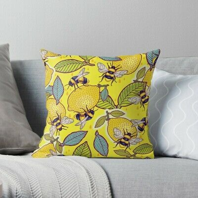 Yellow Lemon And Bee Garden Pillow Case Yellow Lemon And Bee Pillow Cover
