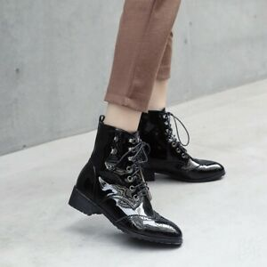 Women's Combat Ankle Boots Shiny Patent