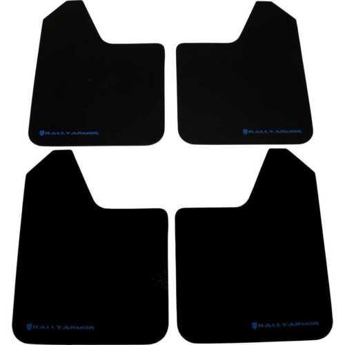 Rally Armor Basic Universal Mud Flaps Set//4 No HW Black w// Blue Logo MF12-BAS-BL