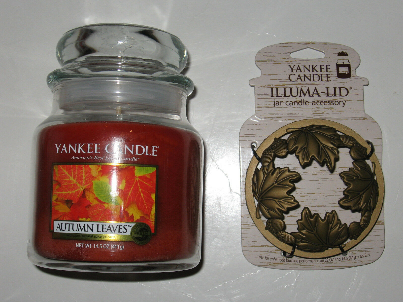Yankee Candle AUTUMN LEAVES Candle & LEAF ACORNS gold Illuma-Lid Topper FALL SET