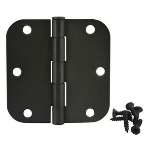 37595 6 Pack Cosmas Flat Black Door Hinge 3.5 Inch x 3.5 Inch with 1//4 Inch Radius Corners