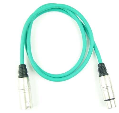 2x 1 m Mikrofonkabel Adam Hall K3 MMF 0100 GRÜN XLR m//f 3 pol DMX Mikrofon Kabel