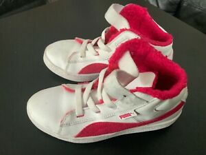Girls Kids Puma Pink \u0026 White High Top