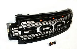Raptor-Style-For-17-19-FORD-F250-F350-F450-SD-Front-Grille-W-LED-Glossy-Black
