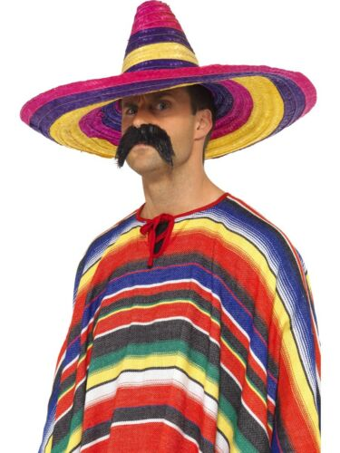 Mexican Poncho Mens Ladies Fancy Dress Accessory New Mexico ADD ON Sombrero