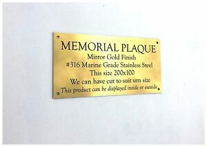 Memorial-Plaque-Gold-Mirror-finish-Stainless-Steel-no-holes-200-x-100-x-2-mm
