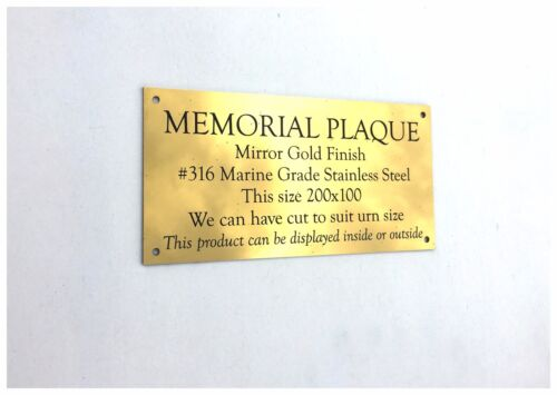 Memorial Plaque Gold Mirror finish Stainless Steel no holes 200 x 100 x 2 mm