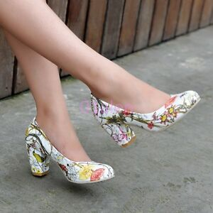 HOt-Womens-Girls-Thick-High-Heel-Slip-on-Classic-Pumps-Shoes-OL-Floral-Plus-Size