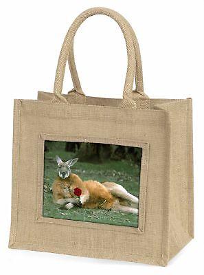 Känguru mit rotem Rose Große natürliche jute-einkaufstasche Weihnachtsgeschenk,