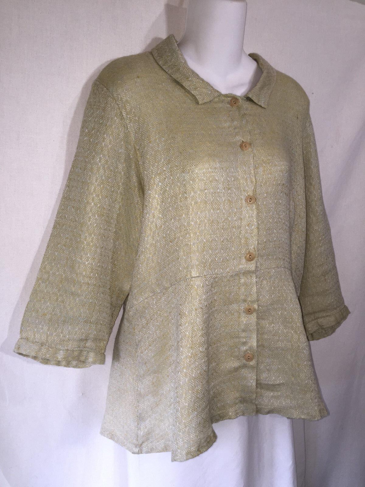 FLAX Engelhart Soft Grün Shapely Linen Peplum Button Shirt Tunic Top Jacket S