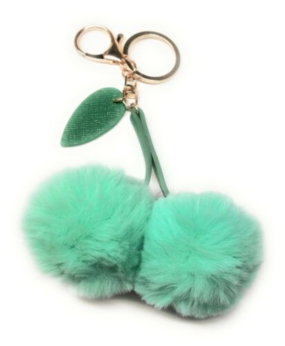 SPIRIUS Faux Fur Ball Cherry Pompom Fluffy Bag Charm Car Accessory Keyring