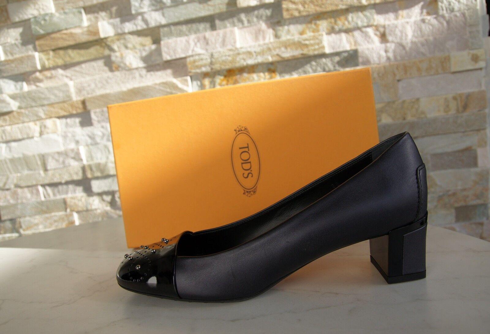Tods Tod ´ S 38 Escarpins Chaussures Basses Chaussures Penture Rivets Penture Chaussures Noir Neuf 9abf6f