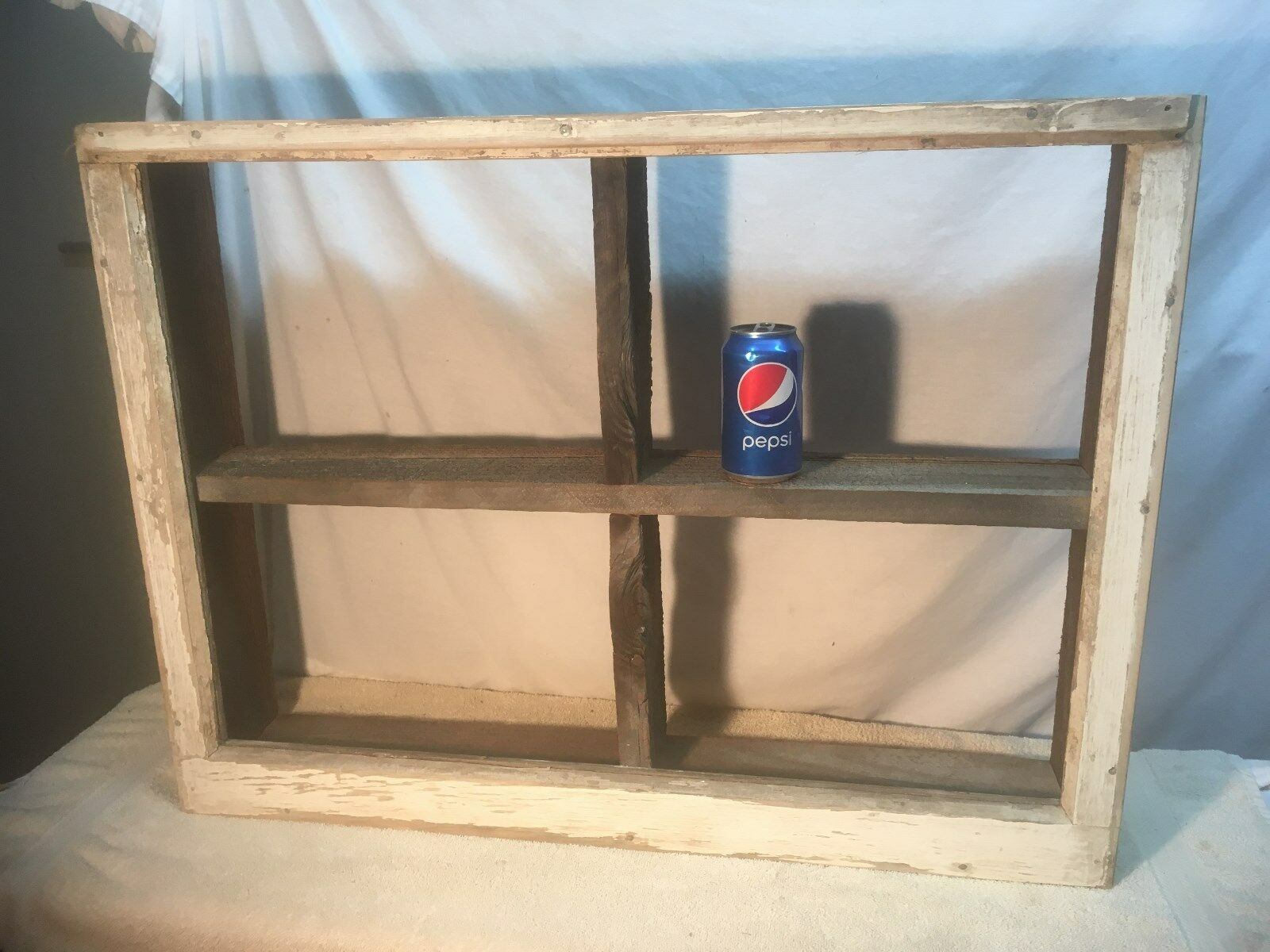 Vintage Wood Window Sash Wall Shelf Barn Wood shelf  Shadow Box shelf