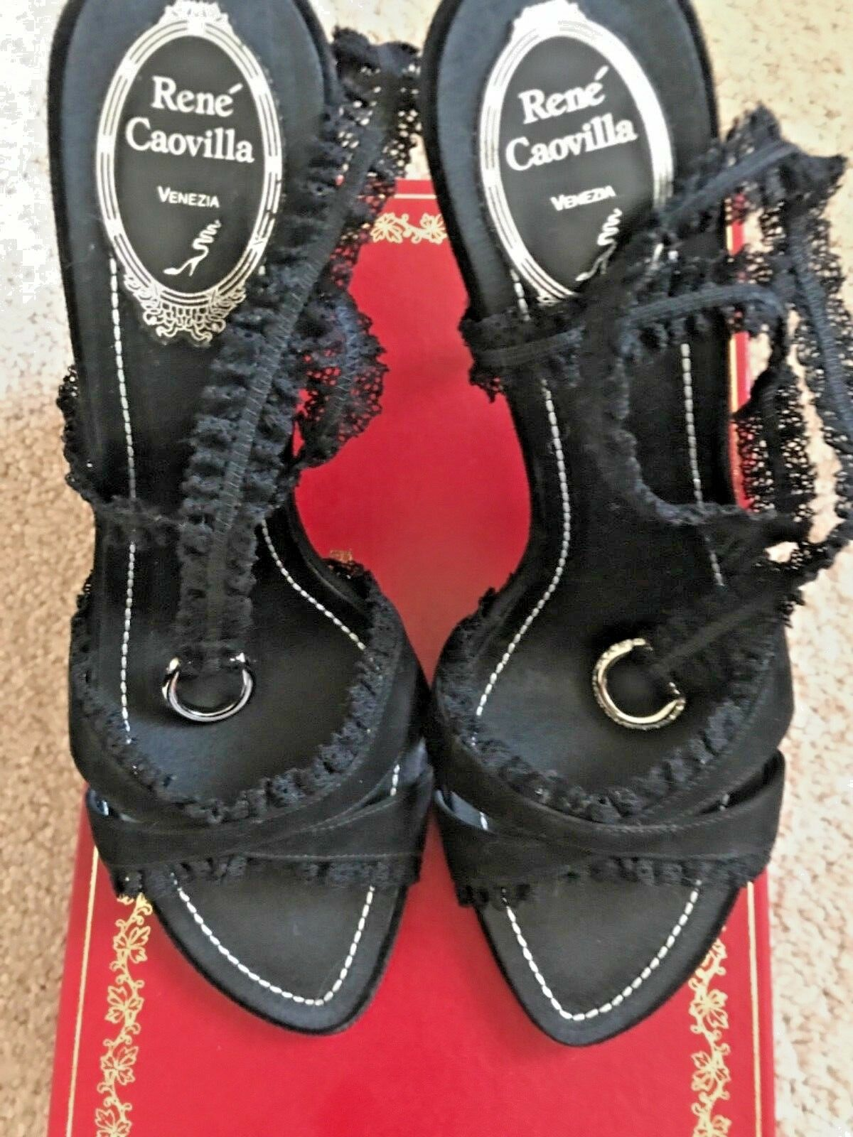 con il prezzo economico per ottenere la migliore marca Rene Rene Rene Caovilla, NWB, foot lingerie, nero lace strap Dimensione 8.5 free shipping  Sconto del 70%