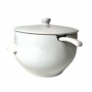 Pottery Barn White Tureen Large Soup Bowl W Lid & Ladle No Chips Crack Or Breaks