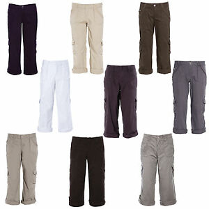 Womens Casual Cropped Trosuer 3/4 Capri Cargo Pants Ladies Walk ...