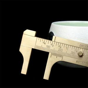100mm Mini Brass CALIPER Sliding Vernier Ruler Gauge Gem Tool Bead Measuring