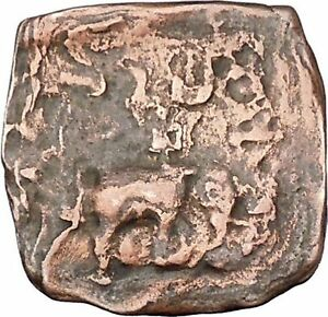AZILISES-85BC-INDO-SKYTHIAN-King-on-Horse-Bull-Ancient-Greek-Coin-India-i47125