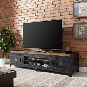 Industrial Steampunk Pine Wood Steel Metal Tv Stand Media