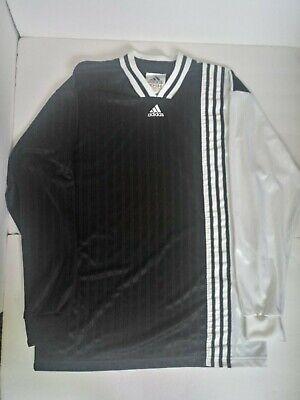 VTG 90s Adidas Black and White Three Stripes Longsleeve Soccer Jersey Mens L | eBay