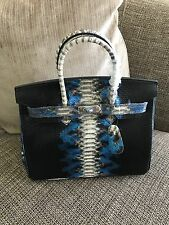 RARE BIRKIN INSPIRED BLACK WITH BLUE ACCENTS SNAKE PRINT 30CM BAG TOTE