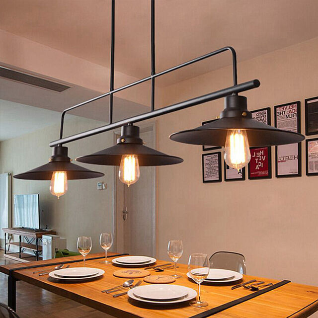 Loft Pendant Lights Vintage Industrial Ceiling Lamp Globe Bar - Kitchen light fixtures ebay