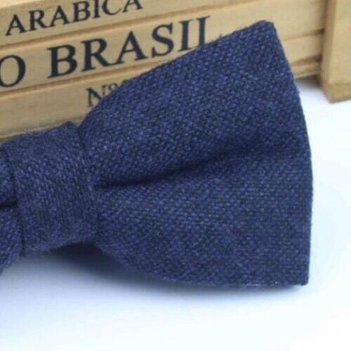 UK. Great Reviews New Dark Navy Blue Tweed Wool Pre-Tied Mens Bow Tie