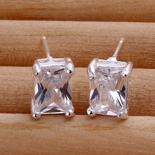 New 925 Sterling Silver Rectangle Shape Zircon Ear Clip Earrings Ear Studs Gift