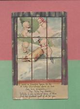 Adorable KEWPIES CHOP TREE On A/S ROSE O'NEILL Vintage 1919 CHRISTMAS Postcard