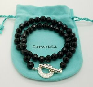 9ad959291 Tiffany & Co Sterling Silver 925 Black Onyx 8 mm Bead Toggle ...