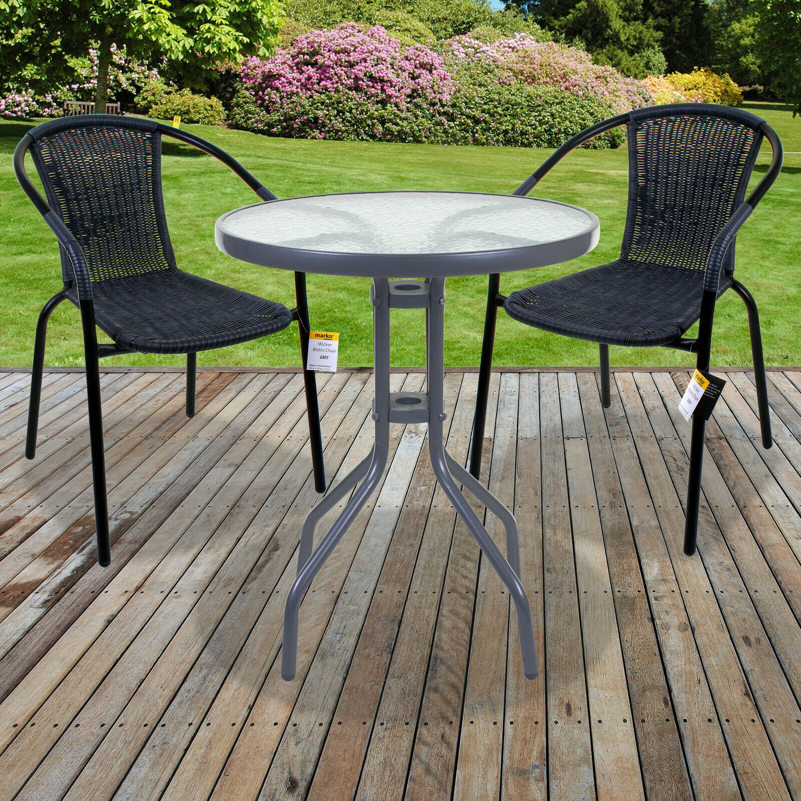 BISTRO SET GREY WICKER CHAIRS ROUND GLASS TABLE RATTAN SEAT OUTDOOR GARDEN  PATIO