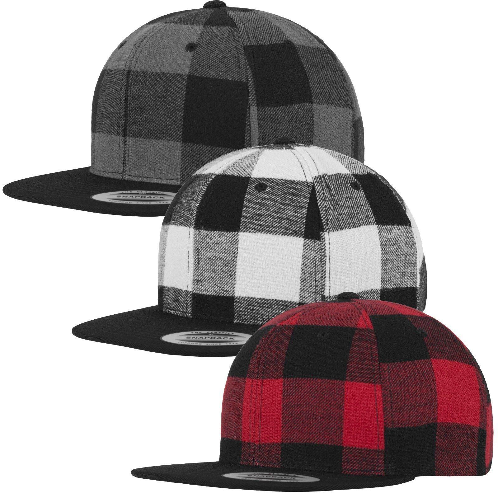 FLEXFIT ® CHECKED FLANELL SNAPBACK CAP Urban Classics Hat Karo Mütze Plaid Kappe