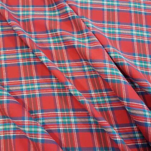 Stoff Meterware Baumwolle Karo Schottenkaro rot grün grau Flanell Webkaro weich