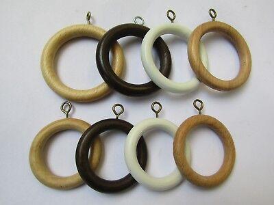 10 x Holz Gardinenstange Rutenringe mit Ösen Textilien Ringe