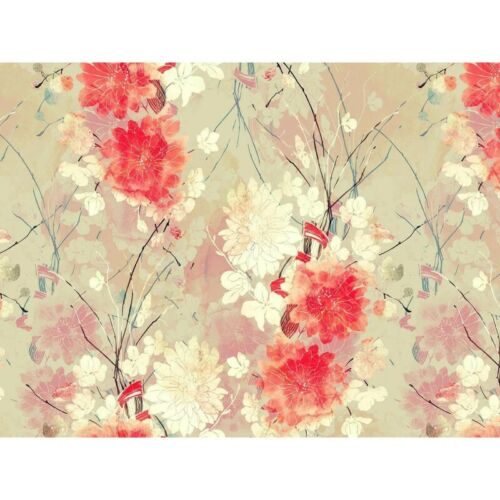 Details about  /Fotomural red abstract floral vinyl show original title