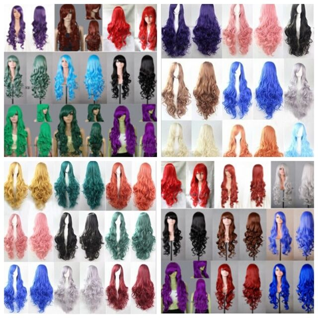 Women's Long Fancy Dress Party Wigs Wave Curly Heat Resistant Hair Wig Wigs+Cap