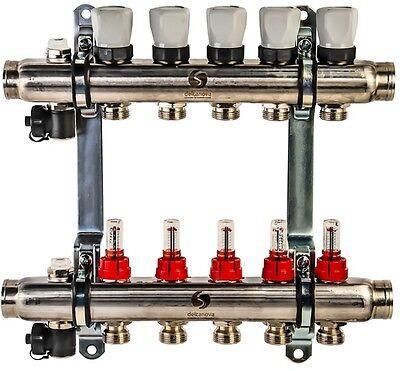 Edelstahl Heizkreisverteiler Fußbodenheizung 5 Heizkreise mit Durchflussmesser