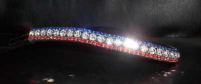 BLING!*Diamante*Leather Sparkly Browband*3-Row Crystals*RED/BLUE*Full/Cob/Pony
