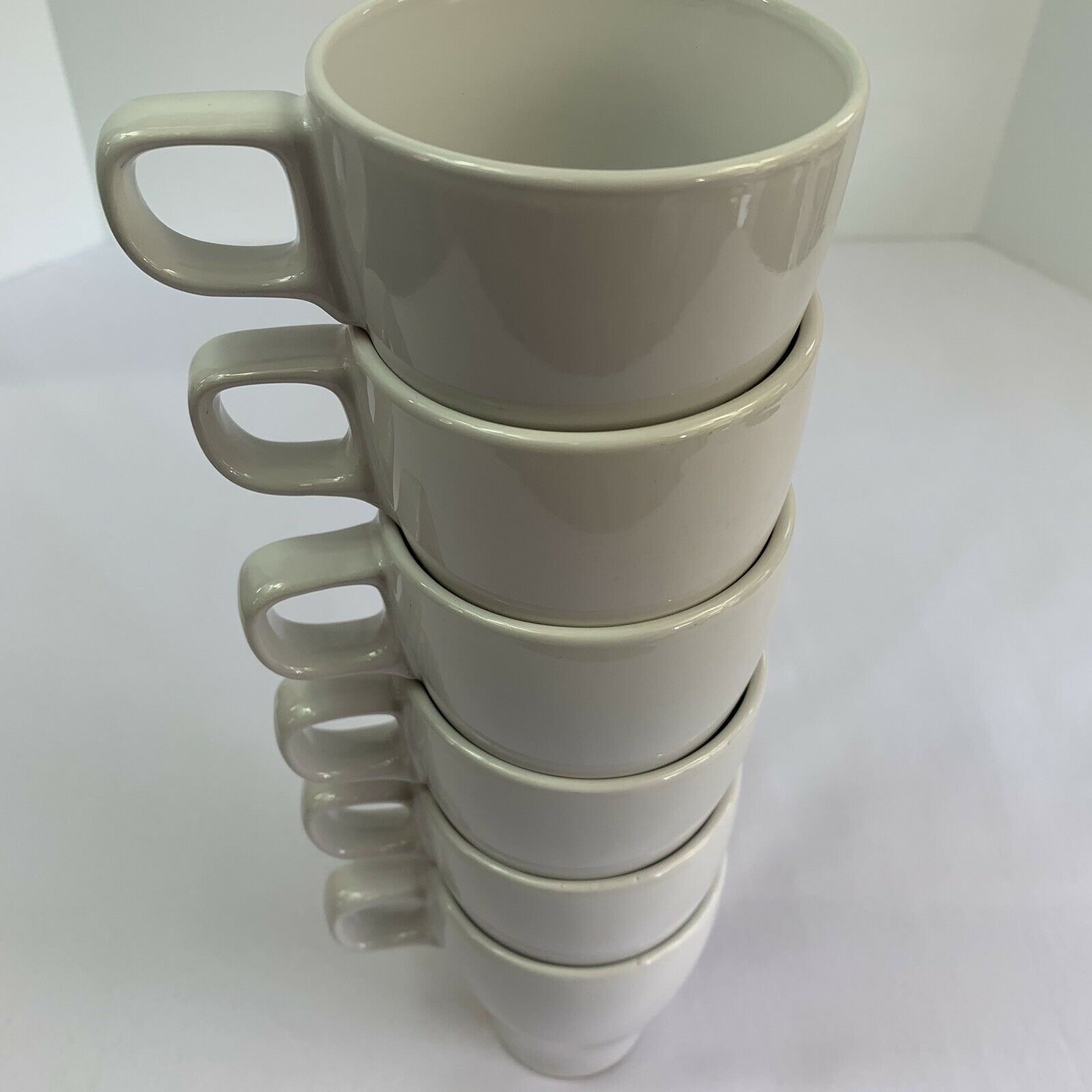 Set of 5~IKEA~White~Ceramic Coffee Tea Cups Mugs Stackable