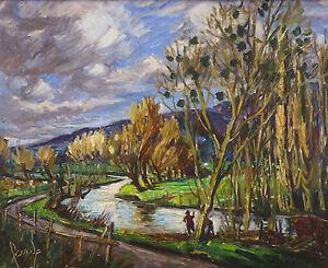 Fishermen-Oil-on-Panel-Signed-near-Vix-Gold-Coast-Landscape-Impressionist