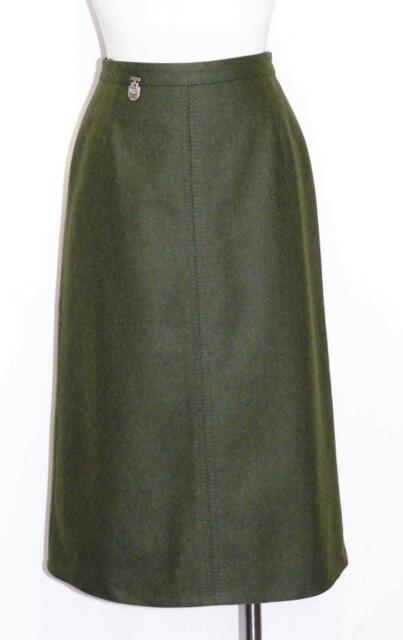 Green Loden Wool Women German Austria Straight Pencil Dress Suit