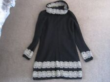MARKS & SPENCER PER UNA BLACK & GOLD JUMPER DRESS MOHAIR WOOL MIX UK 10