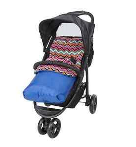 Baby Pushchair//Stroller 2 way Universal Cosytoes Fleece Pad Footmuff Liner Blue
