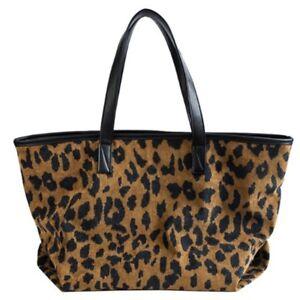 Leopard-casual-vintage-large-capacity-tote-shopper-corduroy-leather-fur-handbag