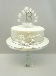 Image Is Loading DIAMOND ANNIVERSARY BIRTHDAY NUMBERS CAKE TOPPER WHITE GLITTER