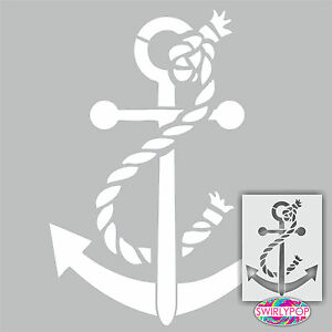 "Anchor wall stencil 12""x9"" Ocean Nautical Coastal craft template pattern paint"