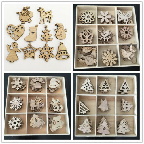 Details about  /100Pcs Wooden MDF Wood Craft Shapes Christmas Tree Hanging Decoration Ornament